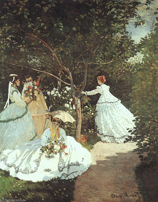 67 The Women in the Garden by Claude Monet (1840-1926, France) | Paintings Reproductions Claude Monet | WahooArt.com