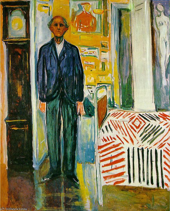 Self Portrait Between Clock and Bed by Edvard Munch (1863-1944, Sweden)