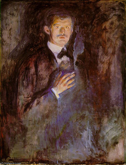 Self-Portrait with Burning Cigarette NG Oslo, 1895 by Edvard Munch (1863-1944, Sweden)