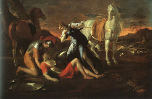 Nicolas Poussin - Tancred and Erminia, oil on canvas, Hermitage