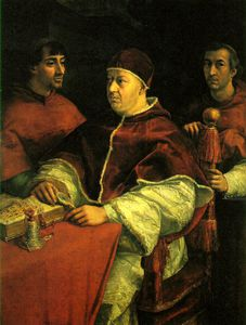 Raphael (Raffaello Sanzio Da Urbino) - Pope Leo X with two cardinals, U