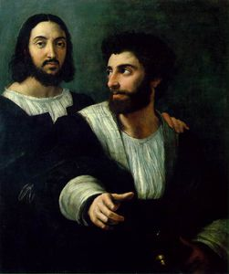 Raphael (Raffaello Sanzio Da Urbino) - Portrait of the Artist with a Friend, traditionall