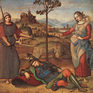 Raphael (Raffaello Sanzio Da Urbino) - The knights dream, national gallery, london.