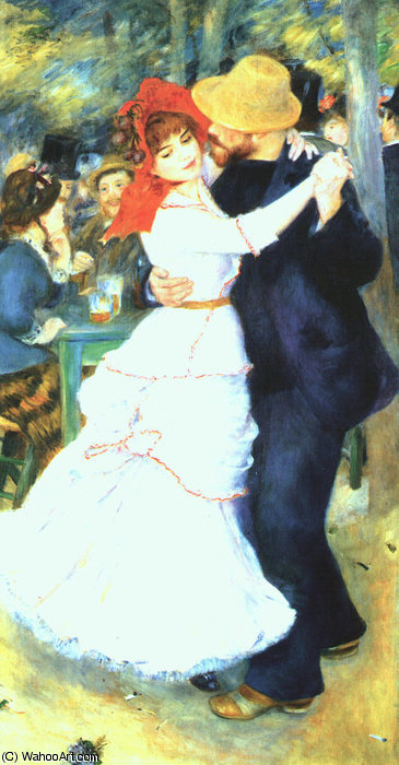 Dance at Bougival, oil on canvas, Museum of Fin, 1883 by Pierre-Auguste Renoir (1841-1919, France) | Painting Copy | WahooArt.com