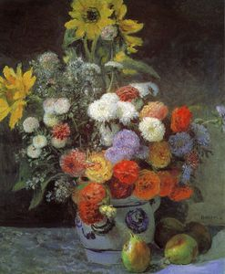 Pierre-Auguste Renoir - Mixed Flowers in an Earthenware Pot, oil on pap