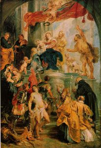 Peter Paul Rubens - Virgin and child enthroned with saints c.1627-28, Ske