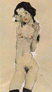 Egon Schiele - Nude black-haired girl
