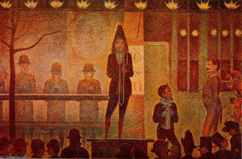 Parade de cirque, Metropolitan, 1888 by Georges Pierre Seurat (1859-1891, France) | Famous Paintings Reproductions | WahooArt.com