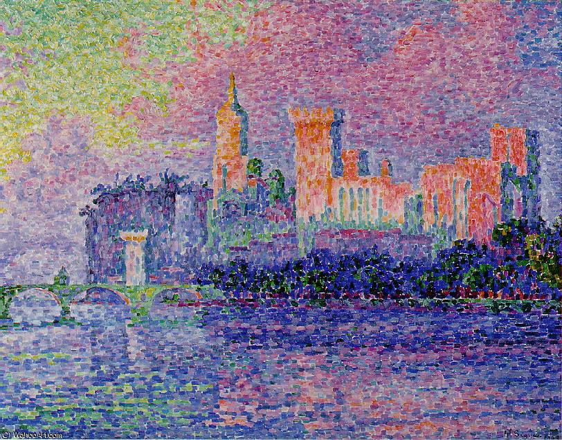 The papal palace, avignon, musée, 1900 by Paul Signac (1863-1935, France) | WahooArt.com