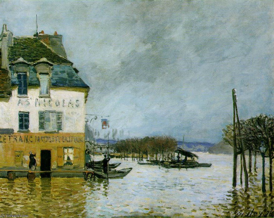 Flood at Port-Marly, Musee des Beaux -, 1876 by Alfred Sisley (1839-1899, France)