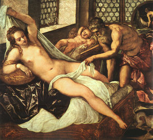 Tintoretto (Jacopo Comin) - Vulcanus takes mars and venus unawares, detail, a