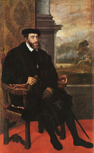 Tiziano Vecellio (Titian) - Charles v seated, oil on canvas, pinakothek at