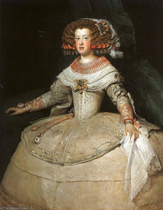 María Teresa of Spain `With Two Watches`, Art Hist by Diego Velazquez (1599-1660, Spain) | Oil Painting | WahooArt.com