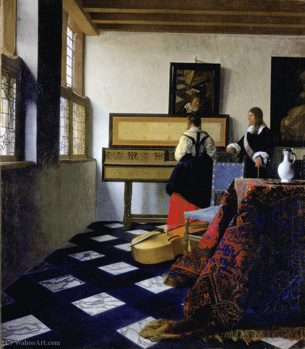Music lesson by Jan Vermeer (1632-1675, Netherlands)
