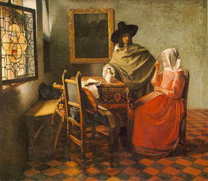 Jan Vermeer - The glass of wine, Gemäldegalerie