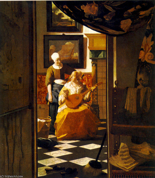 The letter, Rijksmuseum Amsterdam, 1670 by Jan Vermeer (1632-1675, Netherlands) | Painting Copy | WahooArt.com