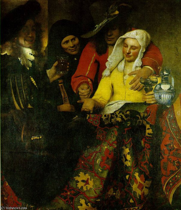 The procuress, Gemaldegalerie Alte, 1656 by Jan Vermeer (1632-1675, Netherlands) | Museum Quality Reproductions | WahooArt.com