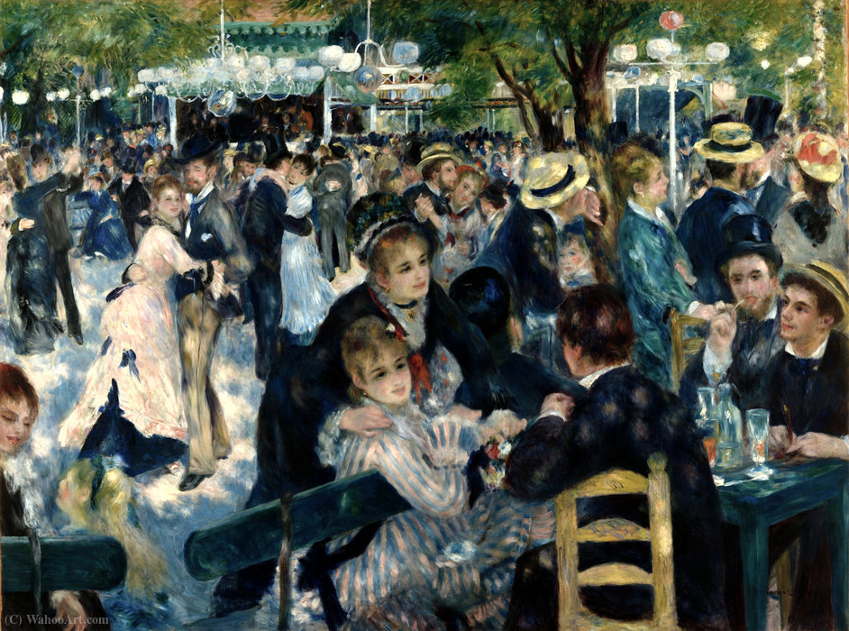 Dance at the Moulin de la Galette by Pierre-Auguste Renoir (1841-1919, France)