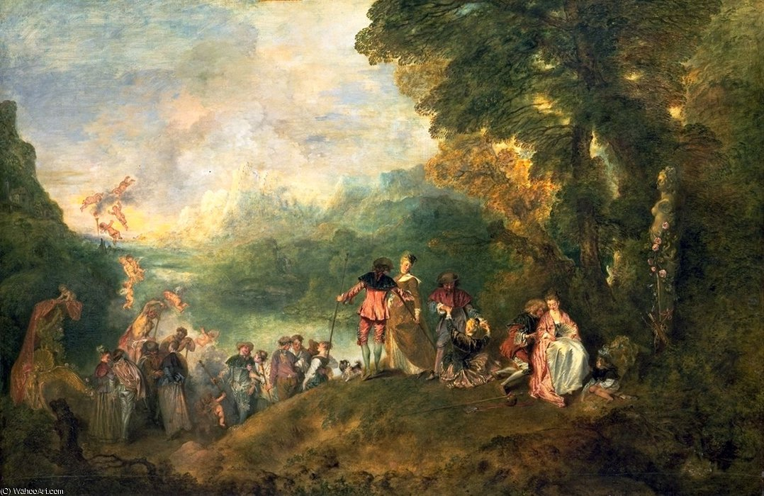 The Embarkation for Cythera, Louvr, 1717 by Jean Antoine Watteau (1684-1721, France) | Oil Painting | WahooArt.com