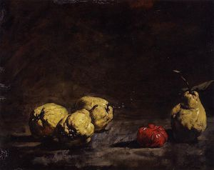 Théodule Augustin Ribot - Still Life with Pears and a Quince