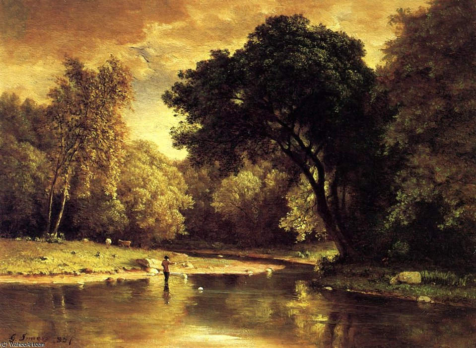 Fisherman in a Stream by George Innes | Museum Quality Reproductions | WahooArt.com