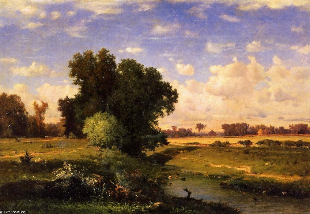 Hackensack meadows, sunset by George Innes | Museum Quality Reproductions | WahooArt.com