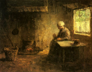 Jozef Israels - Peasant Woman by a Hearth