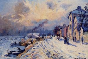 Albert-Charles Lebourg (Albert-Marie Lebourg) - Near rouen, snowy weather