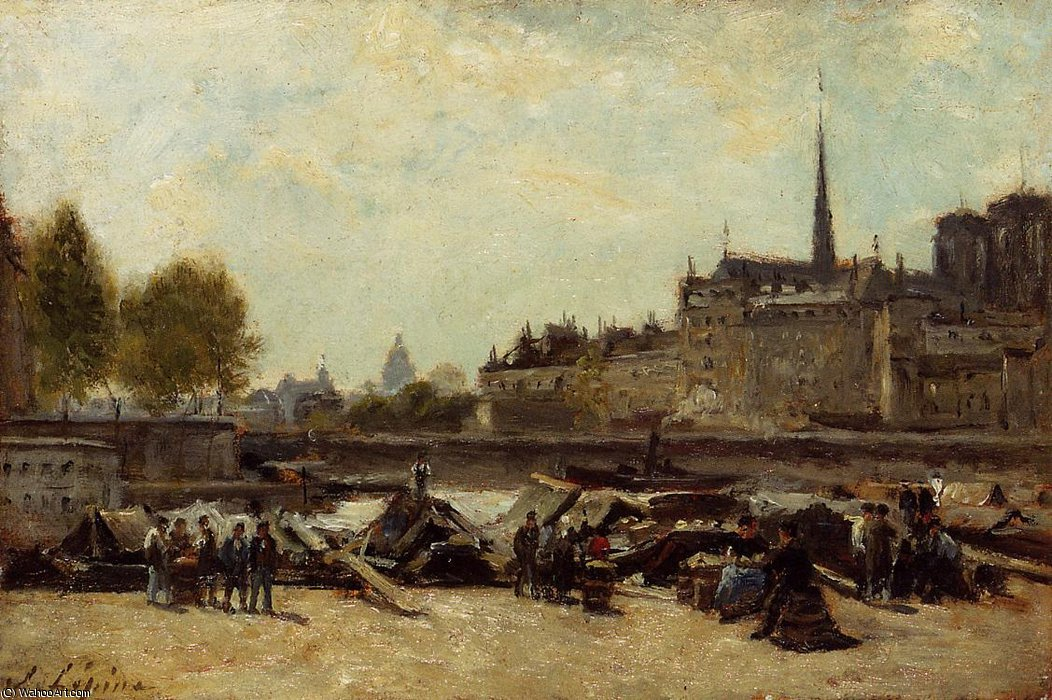 The Apple Marker, Quai de Gesvres and Quay de l`Hotel de Vil by Stanislas Lepine (1835-1892, France) | Museum Quality Copies Stanislas Lepine | WahooArt.com