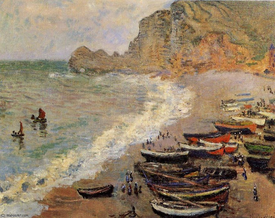Beach at Etretat by Claude Monet (1840-1926, France) | Famous Paintings Reproductions | WahooArt.com
