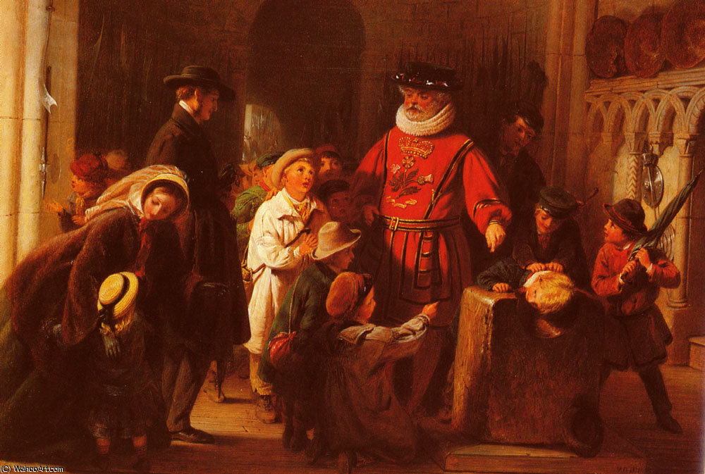 Children at the Tower by Henry Nelson O'neil (1817-1880, Russia) | Museum Quality Reproductions | WahooArt.com