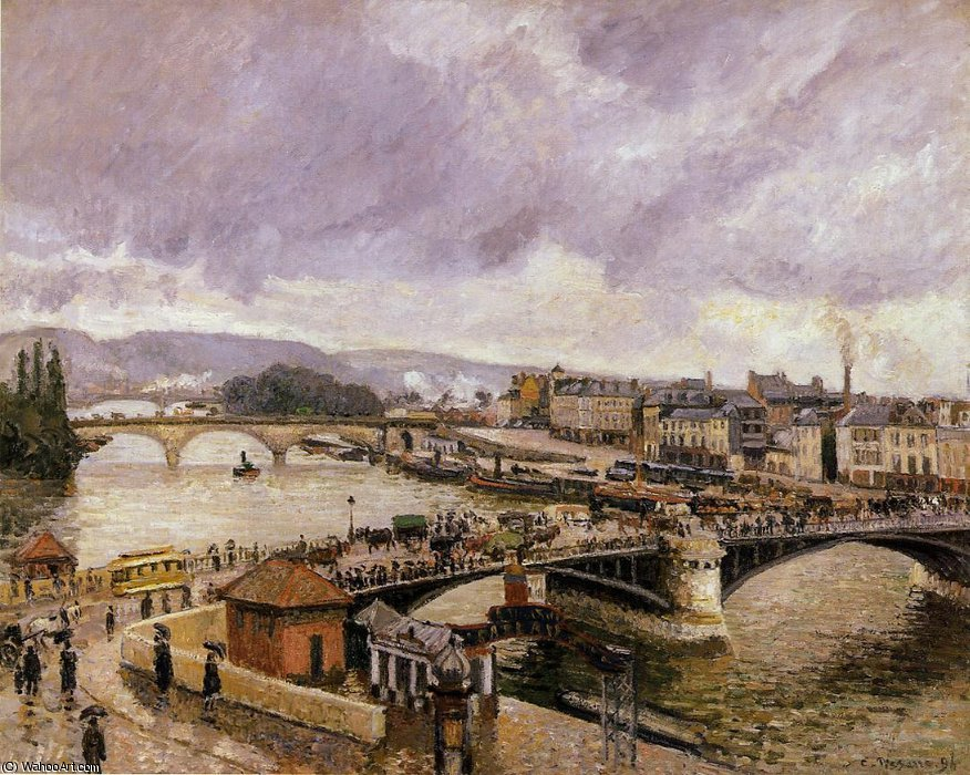 The boieldieu bridge, rouen - rain effect by Camille Pissarro (1830-1903, United States) | Museum Quality Reproductions | WahooArt.com