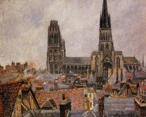 Camille Pissarro - The Roofs of Old Rouen (The Cathedral)