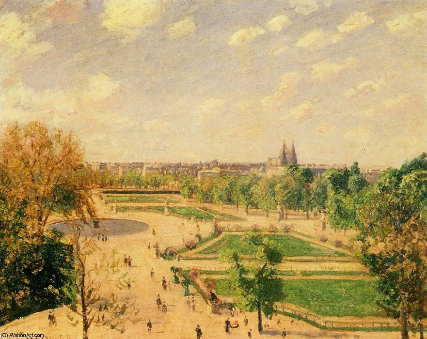 Order Reproductions | The tuileries gardens - morning, spring, sun by Camille Pissarro (1830-1903, United States) | WahooArt.com