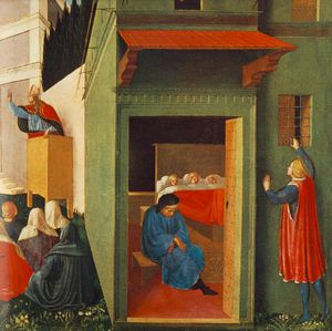 Fra Angelico - Story of St Nicholas - Giving Dowry to Three Poor Girls