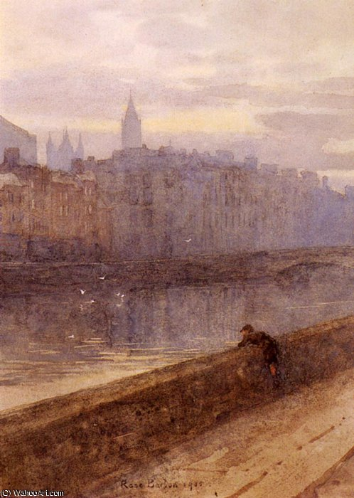 Evening on the river liffey with st. john's church in distan by Rose Maynard Barton (1856-1930, Ireland)