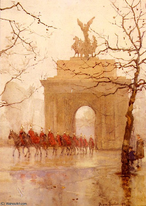 Hyde park corner, with household cavalry by Rose Maynard Barton (1856-1930, Ireland)