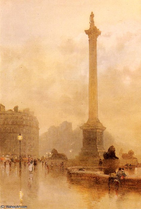 Nelson's column in a fog by Rose Maynard Barton (1856-1930, Ireland)