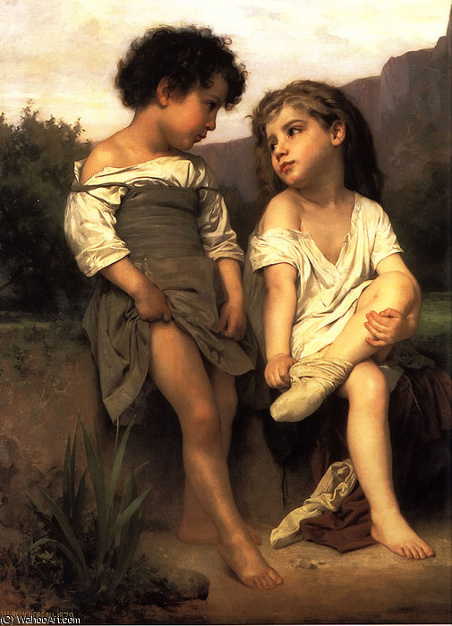 At the Edge of the Brook by William Adolphe Bouguereau (1825-1905, France)