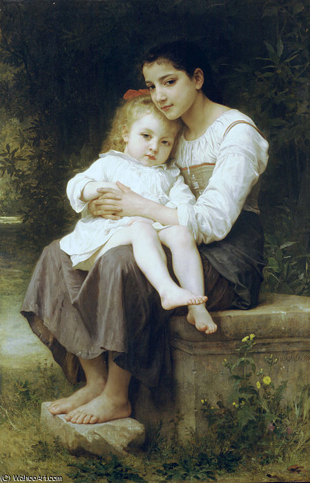 Big sister by William Adolphe Bouguereau (1825-1905, France)