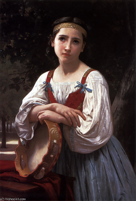 Bohemienne au Tambour de Basque by William Adolphe Bouguereau (1825-1905, France) | Painting Copy | WahooArt.com