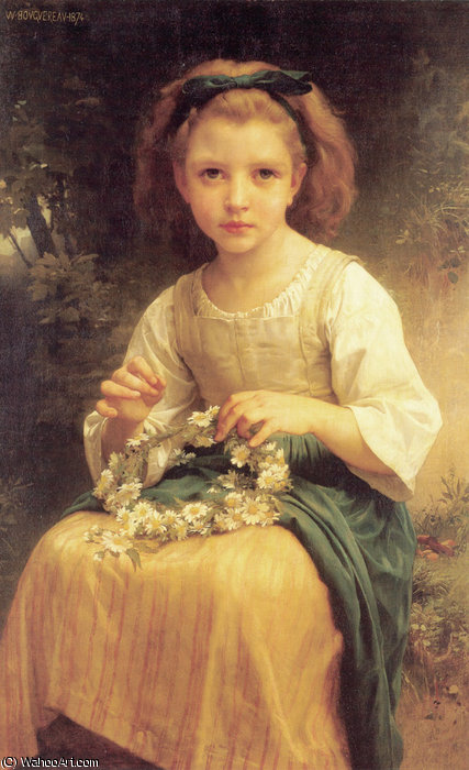 Child braiding a crown by William Adolphe Bouguereau (1825-1905, France) | Oil Painting | WahooArt.com