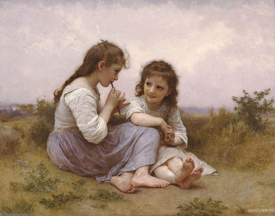 Idylle enfantine by William Adolphe Bouguereau (1825-1905, France) | Famous Paintings Reproductions | WahooArt.com