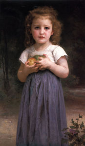 William Adolphe Bouguereau - Little girl holding apples in her hands