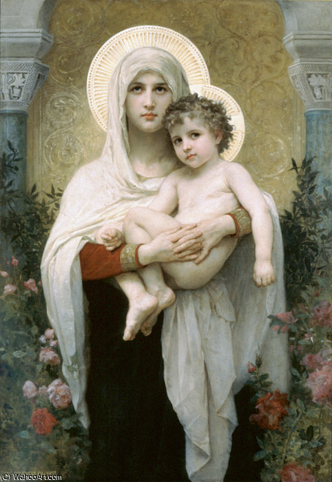 Madonna of the Roses by William Adolphe Bouguereau (1825-1905, France)