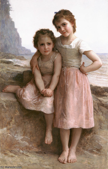 On the Rocky Beach by William Adolphe Bouguereau (1825-1905, France) | Oil Painting | WahooArt.com