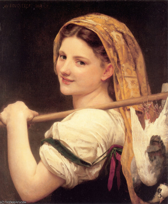 Returned from the market by William Adolphe Bouguereau (1825-1905, France) | WahooArt.com