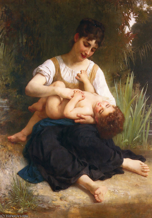 The Joys of Motherhood (Girl Tickling a Child) by William Adolphe Bouguereau (1825-1905, France)