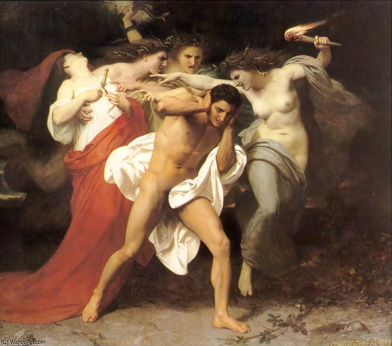 The Remorse of Orestes by William Adolphe Bouguereau (1825-1905, France) | WahooArt.com