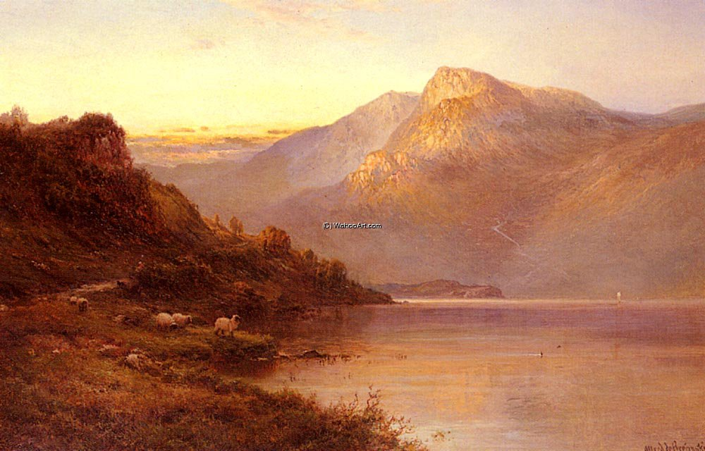 Sunset on the loch by Alfred De Breanski Senior (1852-1928, United Kingdom) | Museum Quality Reproductions | WahooArt.com